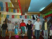 Our Join in Tour in Tibet, dancing with the guide and dancers in Tibet Local restaurants  » Click to zoom ->