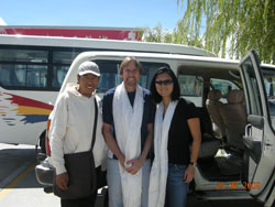 At Lhasa Gonggar Airport with our Tibetan tour guide