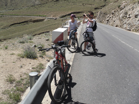 Tibet biking travelers from Poland and Canada in June 2013