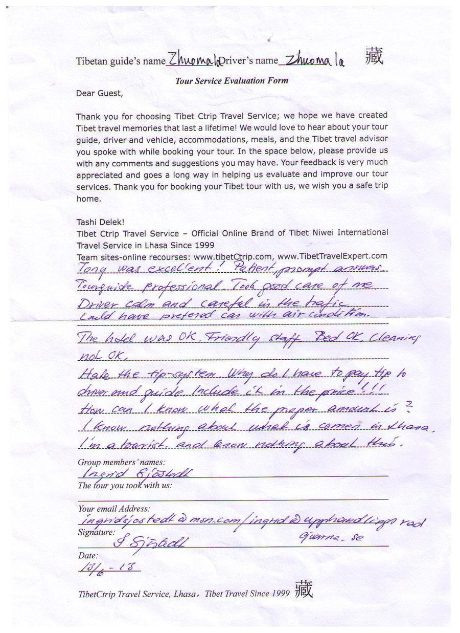 Read Their Handwritten Tibet Travel Company Recommendation Letter!