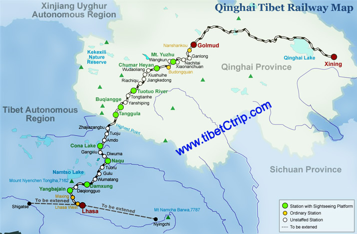 Qinghai Tibet train travel maps update