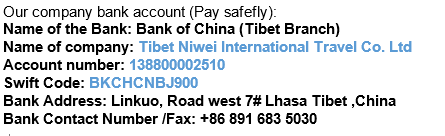 Tibet travel payment to company in Lhasa